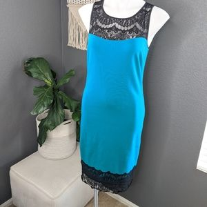 Nicole by Nicole Miller Teal and Black Lace Dress